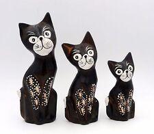 Lot de 3 statuettes famille chats et chaton en bois 15 cm 12 cm 9 cm