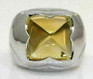 LOVELY 18K WHITE GOLD BVLGARI RING WITH CITRINE! 16.0 GRAMS #L61
