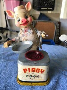 Vintage PIGGY COOK Chef tin steel toy