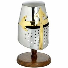 REPLICA STEEL MINI KNIGHTS HELMET (CRUSADER) WITH STAND - GREAT FOR FANCY DRESS