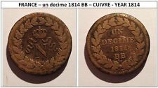 FR FRANCE – un decime 1814 BB – CUIVRE - YEAR 1814