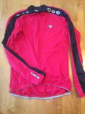PEARL IZUMI Long Sleeve Bike Cycling Jersey Size M Medium Red with Black Stripe
