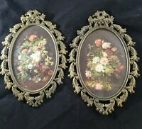 VTG FR Stamped Victorian Floral Oval Ornate Brass Frame Made In Italy Pair of 2