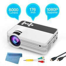 8000 Lumens Full HD 1080P Mini LED LCD Projector Video Multimedia HDMI VGA USB
