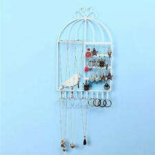 Wall-mounted Metal Stand Holder Rack Earring Necklace Jewelry Display White