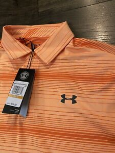NWT Under Armour Mens Orange Size Small S Activewear Polo Playoff 2 $65