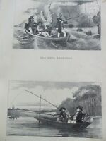 ANTIQUE PRINT C1800'S SEA FOWL SHOOTING PUNT FISHING ENGRAVING HUNTING SPORT ART