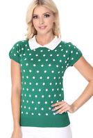 YEMAK Women's Polka Dot Contrast Collar Short Sleeve Casual Sweater MK3673 (S-L)
