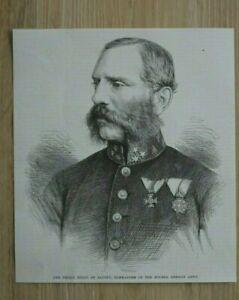 L12b) Holzstich Prinz König Georg v Sachsen 1870 Krieg Frankreich Deutschland