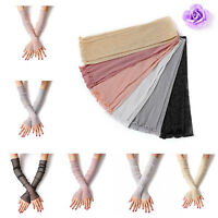 1 Pair Driving Gloves Sunscreen Fingerless Wedding Party Womens Long Lace Gloves