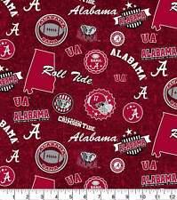 University of Alabama Crimson Tide Cotton Fabric Home State  | 1/4, 1/2, 1 Yard