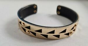 Stella & Dot Gold Plated & Leather Interior Triangle Cut Out Bracelet Cuff Small