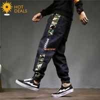Men`s Retro Loose Camo Strip Denim Pants Harem Taper Fit Stretch Jogger Jeans