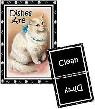 Cat Dishwasher Magnet (White Persian - Vintage) - (Clean/Dirty) Ship Free!