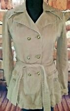 Brown belted jacket sz L Large NORI button front cargo style cotton stretch