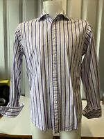"TM Lewin Men's Slim Fit Stripe shirt 16"" Collar"