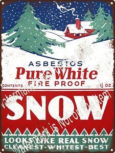"Pure White Snow Asbestos Christmas tree Decor Metal Sign 9x12"" A508"