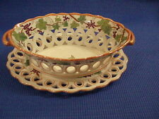 Antique English Staffordshire Porcelain Fruit Bowl With Under Plate