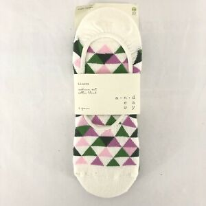 A New Day Liners Socks 3 Pairs Geometric Green White Purple Size 4-10