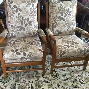 2 PARKER KNOLL MID CENTURY RETRO ARMCHAIRS BEECH or TEAK wood WARWICK cover