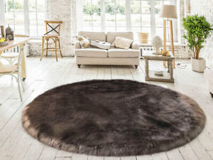 Lambzy FAUX  Round Sheepskin,Silky Shaggy Rug,Soft Touch Fur -BROWN color