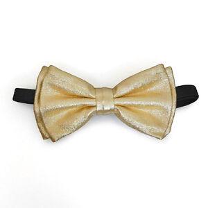 Metallic Gold Bow Tie Adjustable Pre-tied Clip-on  Bow Tie Necktie Ties