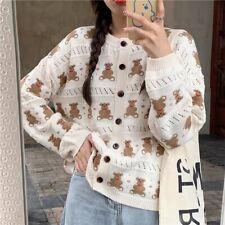 Teddy Bear Vintage Grandma Knit Cardigan Kawaii Japan Korean Fashion Aesthetic