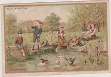 CHROMO ANCIEN PUBLICITAIRE Au Bon Marché-/ENFANTS AU BORD DE LA MARE AUX CANARDS