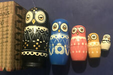 Nesting Doll Hand painted Wooden Stacking Matryoshka Owls -New w/Box