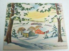 Vintage Unused Christmas Greeting Card - House & Red Barn in Snow Scene 40s