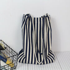Creative Women Canvas Shopping Handle Bag Capacity Stripe Handbag Tote Bag