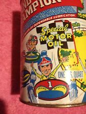 VINTAGE GRAND CHAMPION 1 QT OIL CAN WITH RACE CAR GRAPHIC'S NICE CAN
