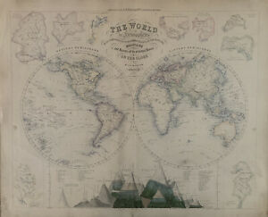 1859 World Hemispheres with Mountains & River Basins Map by G.H. Swanston