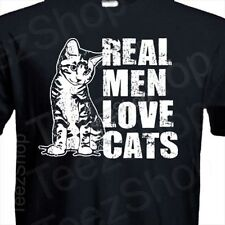 REAL MEN LOVE CATS funny animal pet lover cat present gift rescue kitten T-Shirt