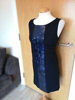 Ladies BENETTON Dress Size 12 14 Black Sequin Detail Smart Party Evening