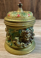 Painted Pewter Tobacco Jar Lion Cherub Gold Red Green BKC