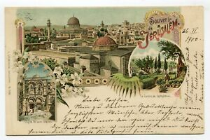 Jerusalem color PPC via Austrian Postoffice to Esslingen Germany 26.2.1900