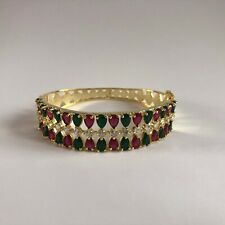 GREEN RED GOLD BANGLES BRACELET JEWELLERY AMERICAN DIAMOND CRYSTAL INDIAN NEW