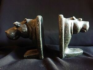 Two Vintage Stone  Bookends Hippos.