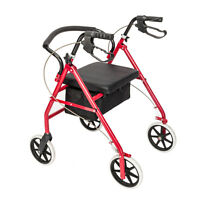 US Heavy Duty Folding 500lb Rolling Wide Seat Rollator Walker With 4 Wheels Red
