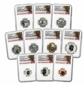 2018-S U.S. Silver Reverse Proof Set 10pc. NGC PF70 ER Trolley Label - In Hand