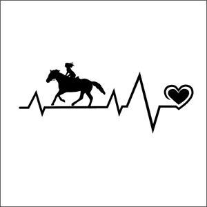 Reiten Pferd - Aufkleber Auto Tattoo KFZ Sinus v2a Herz Sinus Reitsport 18cm