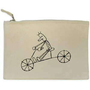 'Man On Bicycle' Canvas Clutch Bag / Accessory Case (CL00002871)