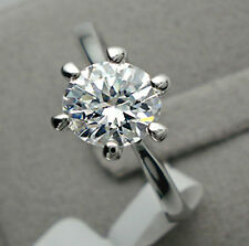 1 ct Solitaire Diamond Sterling Silver Engagement Ring Size 6 FREE SHIPPING