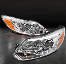12 13 14 FORD FOCUS S SE SEL ST DRL LED PROJECTOR HEADLIGHT LAMP CHROME NEW PAIR