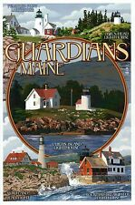 Lighthouses of Maine, Curtis Island Lighthouse etc., Guardians - Modern Postcard