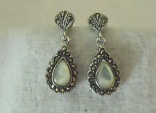 EXQUISITE STERLING SILVER 925 MOTHER OF PEARL MARCISITE DANGLE EARRINGS