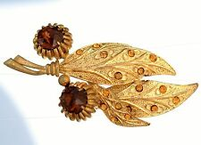 CONTINENTAL signed old gold tone Topaz rhinestones    BROOCH