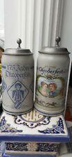 Bierkrüge Oktoberfest Offizielle Jubiläumskrüge mit Zinndeckel 1985 + 2010 Zerti