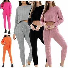 Womens Loungewear Cable Knitted Co-Ord Tracksuit Cropped Baggy Top Bottoms 8-14